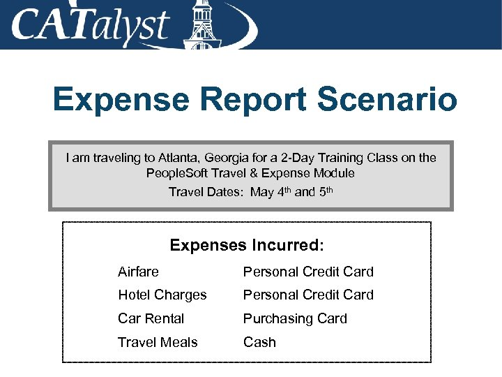 Expense Report Scenario I am traveling to Atlanta, Georgia for a 2 -Day Training