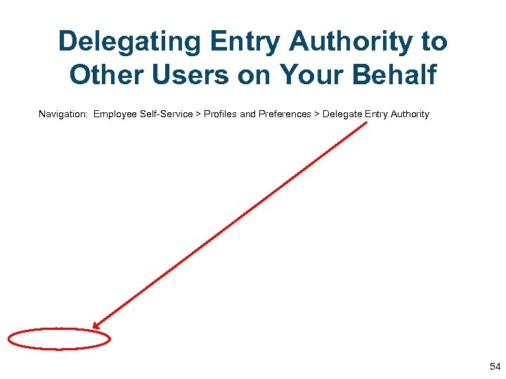 Delegating Entry Authority to Other Users on Your Behalf Navigation: Employee Self-Service > Profiles
