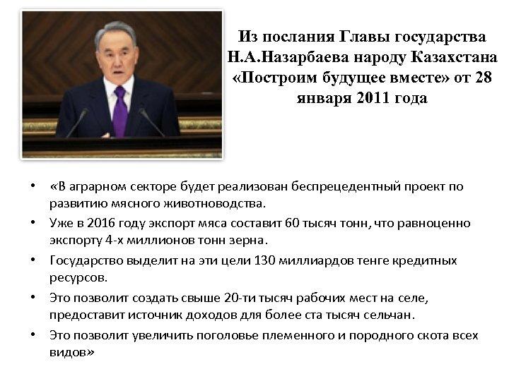 Из послания Главы государства Н. А. Назарбаева народу Казахстана «Построим будущее вместе» от 28
