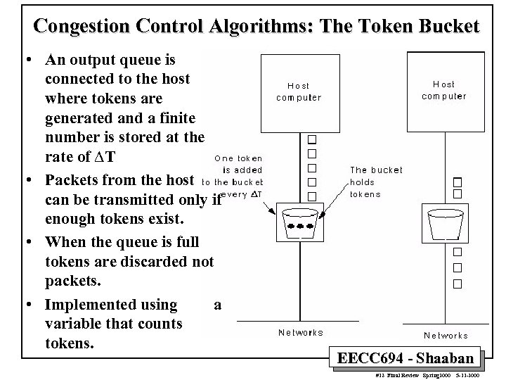 Congestion Control Algorithms: The Token Bucket • An output queue is connected to the