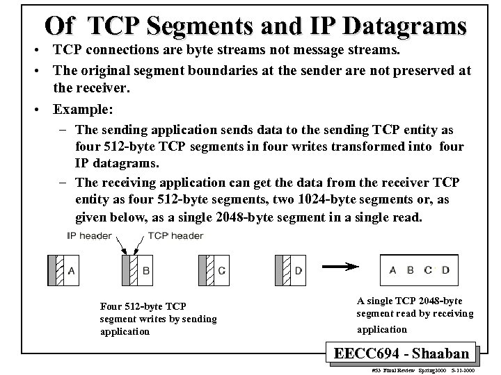 Of TCP Segments and IP Datagrams • TCP connections are byte streams not message
