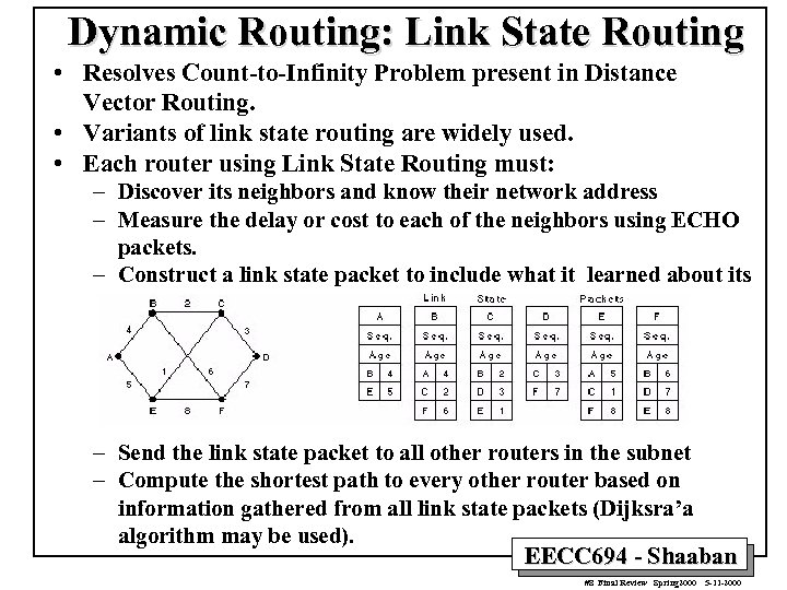 Dynamic Routing: Link State Routing • Resolves Count-to-Infinity Problem present in Distance Vector Routing.