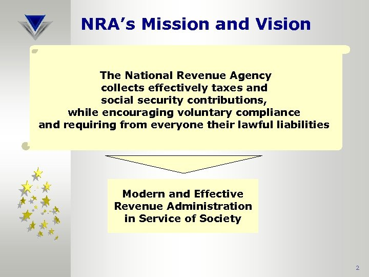 NRA's Mission and Vision The National Revenue Agency collects effectively taxes and social security