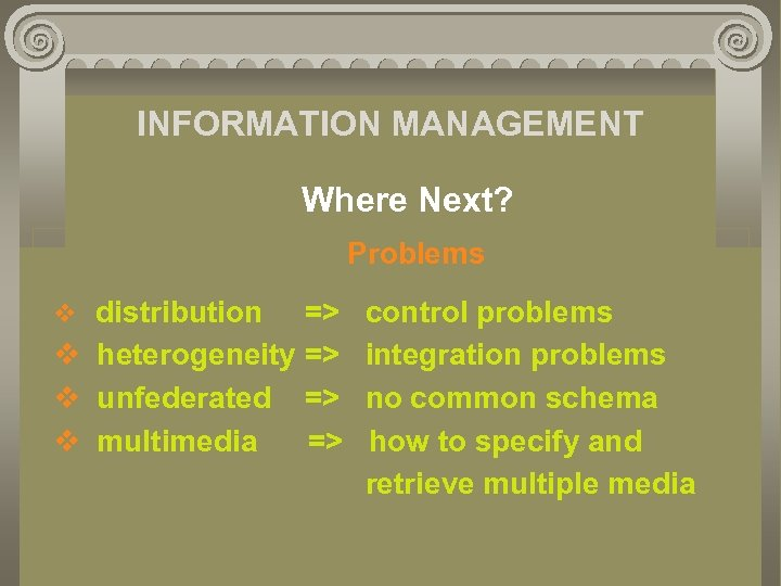 INFORMATION MANAGEMENT Where Next? Problems v distribution => v heterogeneity => v unfederated =>