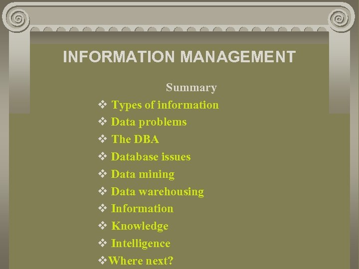 INFORMATION MANAGEMENT Summary v Types of information v Data problems v The DBA v