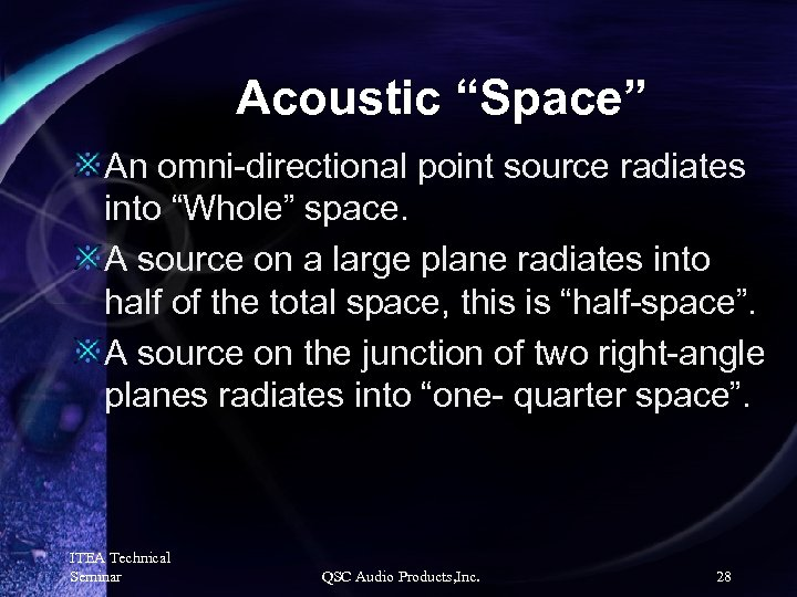 """Acoustic """"Space"""" An omni-directional point source radiates into """"Whole"""" space. A source on a"""