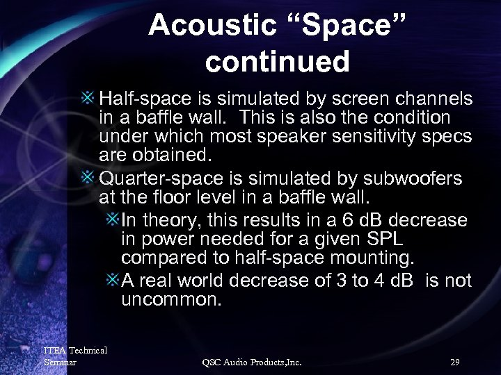 """Acoustic """"Space"""" continued Half-space is simulated by screen channels in a baffle wall. This"""