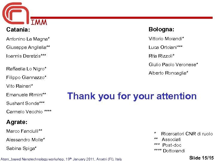 Catania: IMM Bologna: Antonino La Magna* Vittorio Morandi* Giuseppe Angilella** Luca Ortolani*** Ioannis Deretzis***