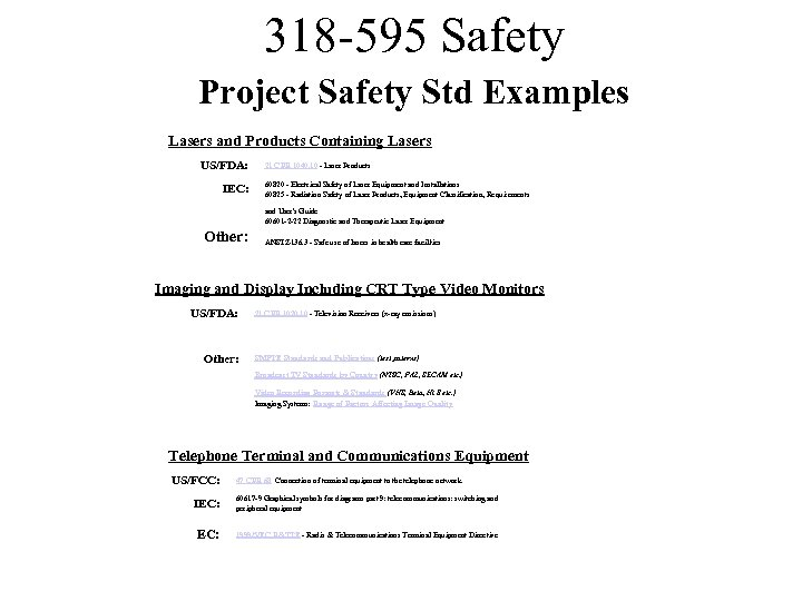 318 -595 Safety Project Safety Std Examples Lasers and Products Containing Lasers US/FDA: IEC: