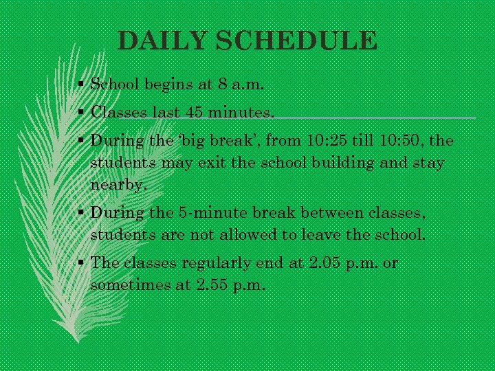 DAILY SCHEDULE § School begins at 8 a. m. § Classes last 45 minutes.