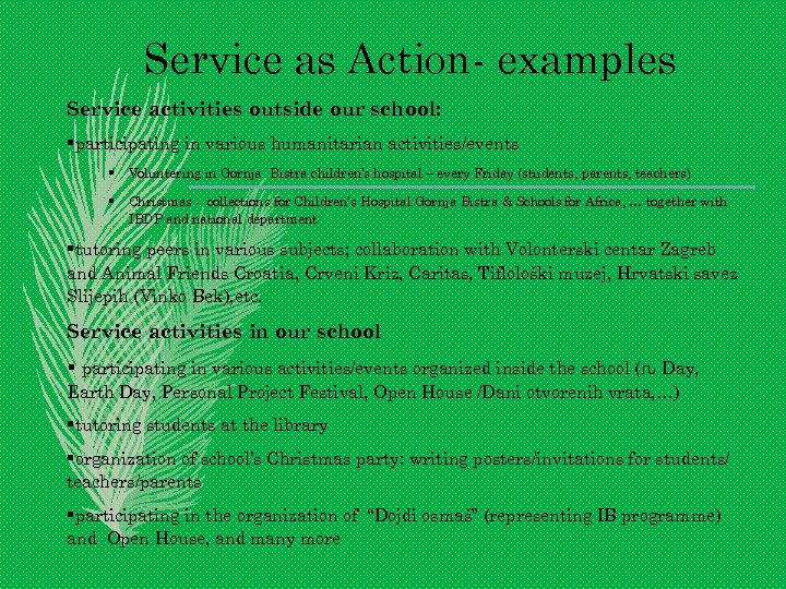 Service as Action- examples Service activities outside our school: §participating in various humanitarian activities/events
