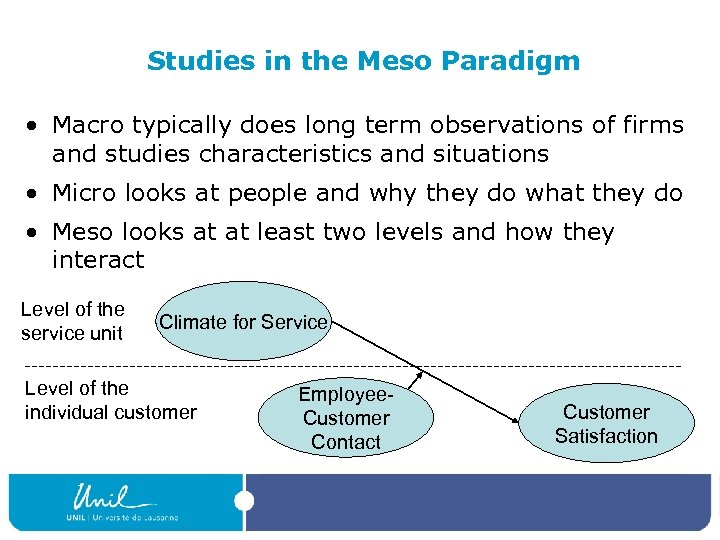 Studies in the Meso Paradigm • Macro typically does long term observations of firms