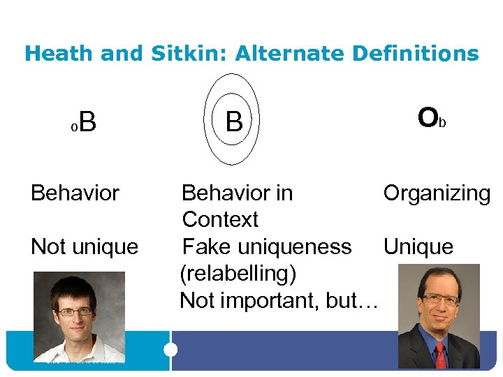 Heath and Sitkin: Alternate Definitions o B Behavior Not unique B Ob Behavior in