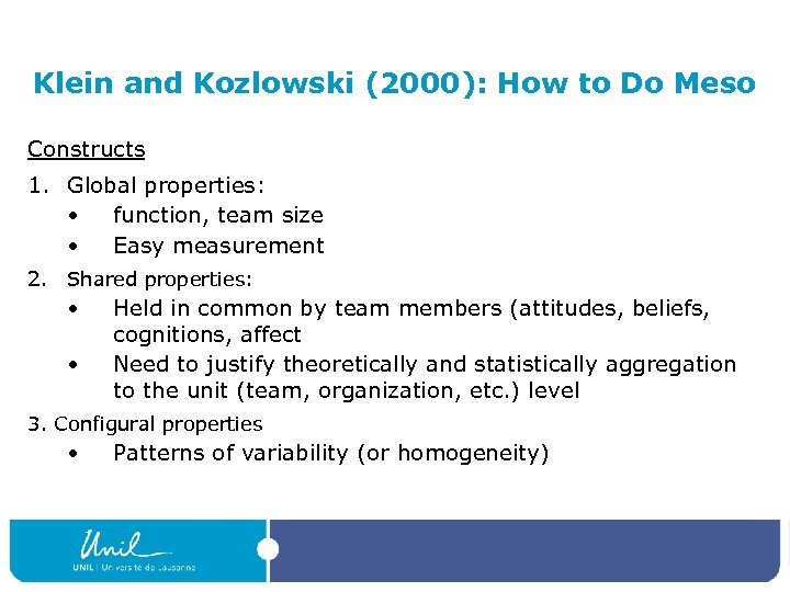 Klein and Kozlowski (2000): How to Do Meso Constructs 1. Global properties: • function,