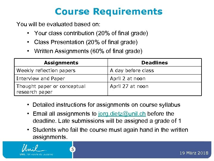 Course Requirements You will be evaluated based on: • Your class contribution (20% of