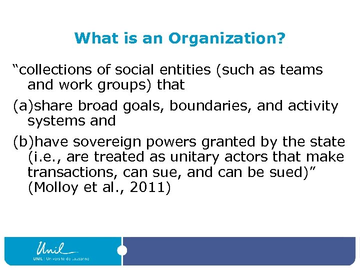 "What is an Organization? ""collections of social entities (such as teams and work groups)"
