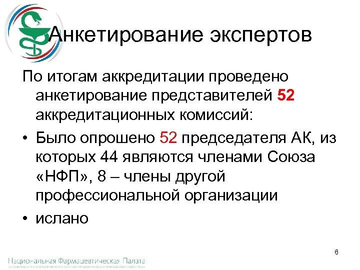 Анкетирование экспертов По итогам аккредитации проведено анкетирование представителей 52 аккредитационных комиссий: • Было опрошено