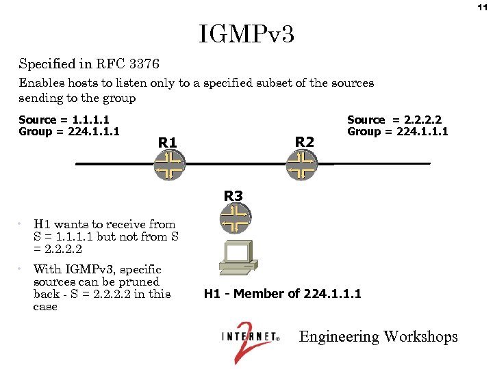 11 IGMPv 3 Specified in RFC 3376 Enables hosts to listen only to a