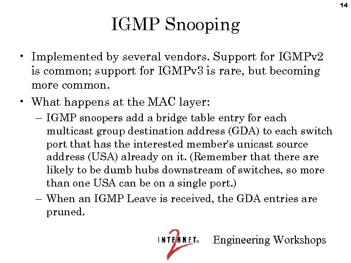 14 IGMP Snooping • Implemented by several vendors. Support for IGMPv 2 is common;