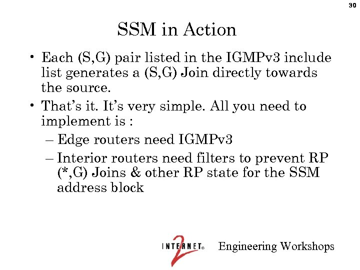 30 SSM in Action • Each (S, G) pair listed in the IGMPv 3
