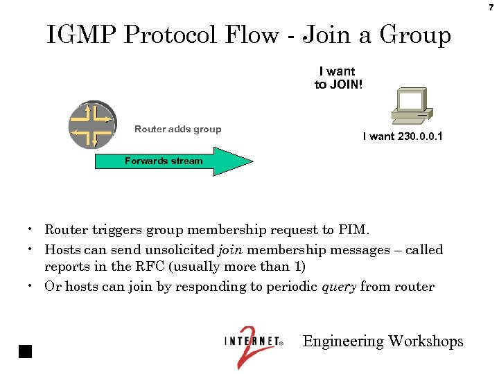 7 IGMP Protocol Flow - Join a Group I want to JOIN! Router adds