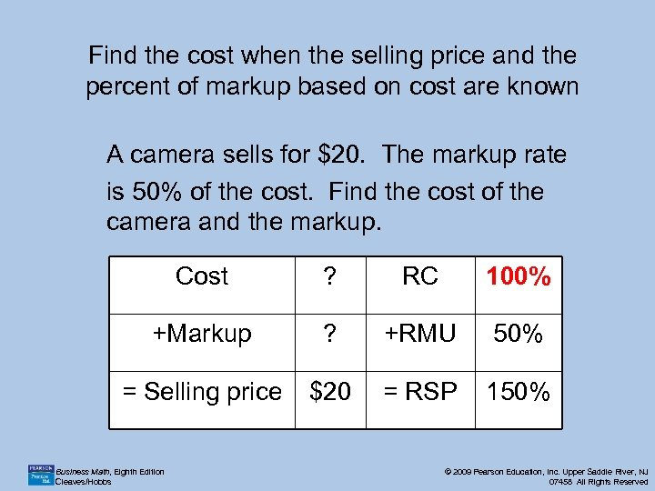 Find the cost when the selling price and the percent of markup based on