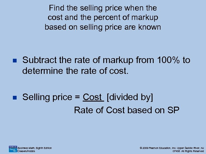 Find the selling price when the cost and the percent of markup based on