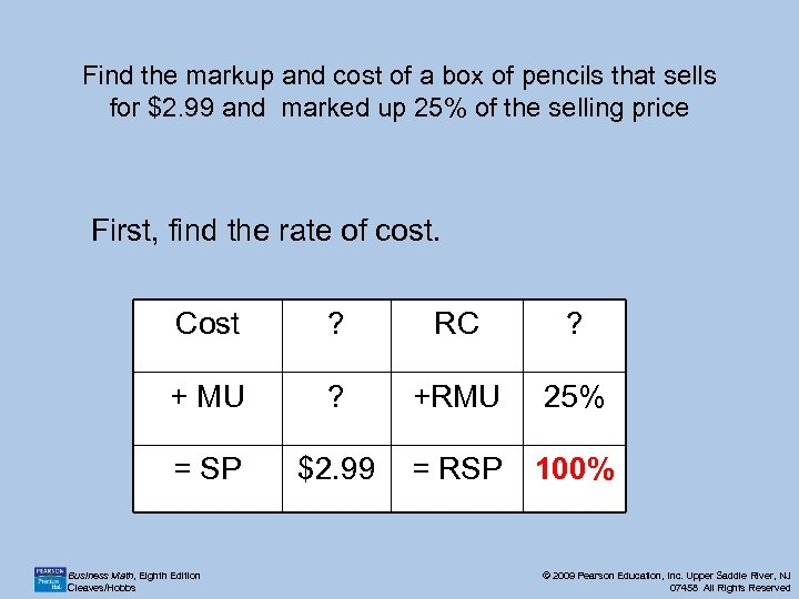 Find the markup and cost of a box of pencils that sells for $2.