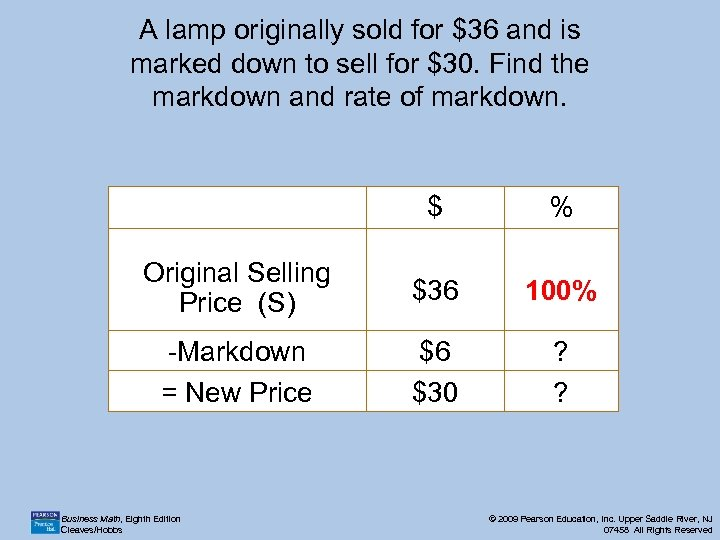 A lamp originally sold for $36 and is marked down to sell for $30.