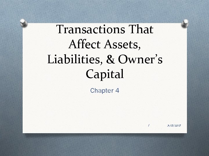 Transactions That Affect Assets, Liabilities, & Owner's Capital Chapter 4 1 3/15/2018