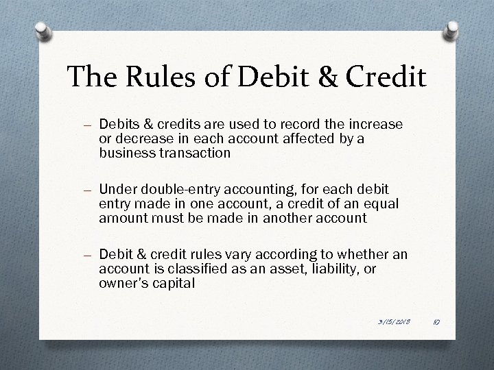 The Rules of Debit & Credit – Debits & credits are used to record