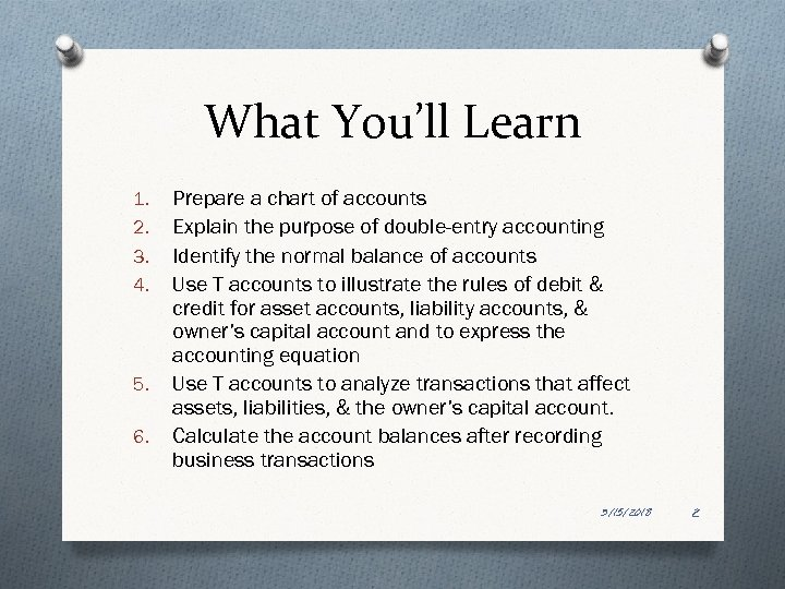 What You'll Learn 1. 2. 3. 4. 5. 6. Prepare a chart of accounts