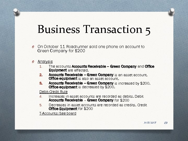 Business Transaction 5 O On October 11 Roadrunner sold one phone on account to