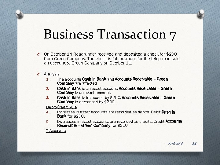 Business Transaction 7 O On October 14 Roadrunner received and deposited a check for