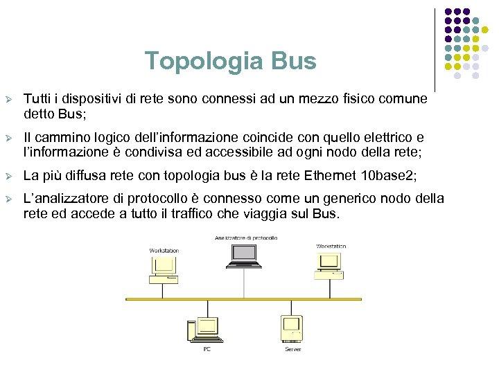 Topologia Bus Ø Tutti i dispositivi di rete sono connessi ad un mezzo fisico