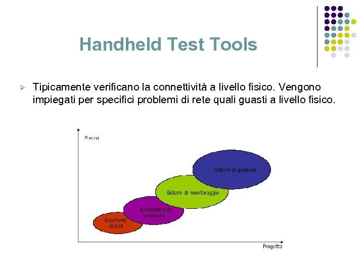 Handheld Test Tools Ø Tipicamente verificano la connettività a livello fisico. Vengono impiegati per