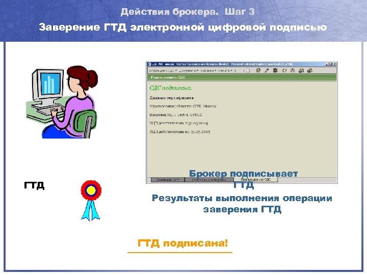 Действия брокера. Шаг 3 Заверение ГТД электронной цифровой подписью ГТД Брокер подписывает ГТД Результаты