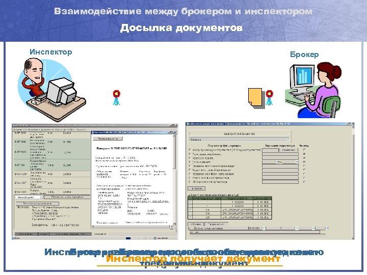 Взаимодействие между брокером и инспектором Досылка документов Инспектор Брокер Инспектор требует предоставить электронную копию