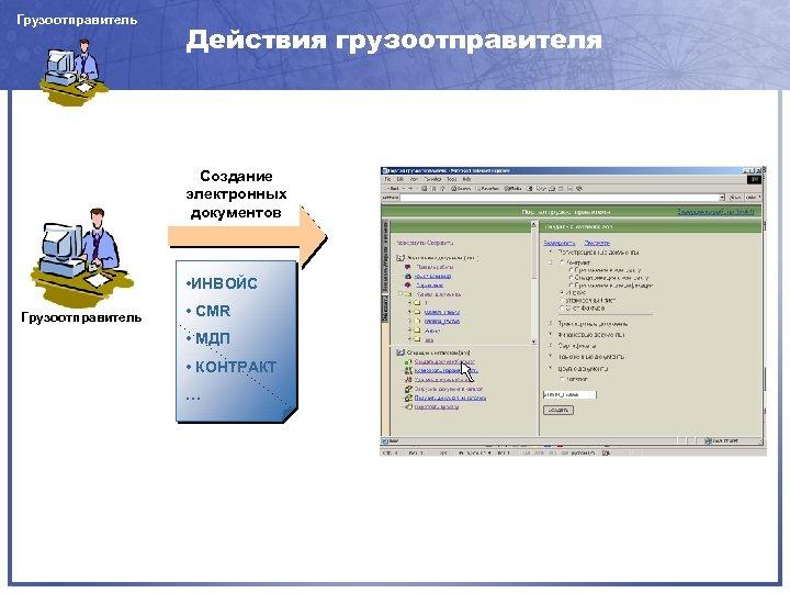Грузоотправитель Действия грузоотправителя Создание электронных документов • ИНВОЙС Грузоотправитель • CMR • МДП •