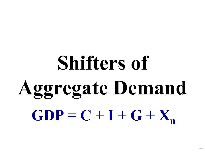 Shifters of Aggregate Demand GDP = C + I + G + Xn 11