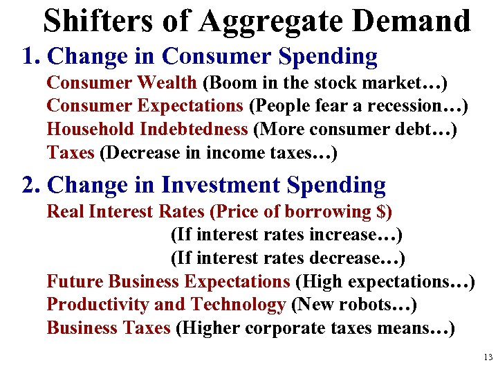 Shifters of Aggregate Demand 1. Change in Consumer Spending Consumer Wealth (Boom in the