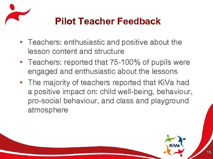 Pilot Teacher Feedback • Teachers: enthusiastic and positive about the lesson content and structure