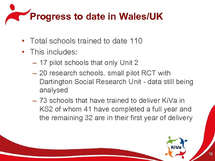 Progress to date in Wales/UK • Total schools trained to date 110 • This