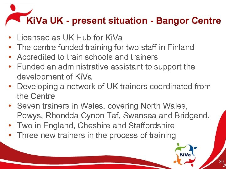 Ki. Va UK - present situation - Bangor Centre • • Licensed as UK