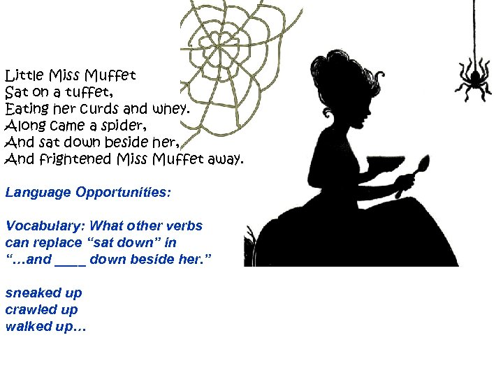 Little Miss Muffet Sat on a tuffet, Eating her curds and whey. Along came