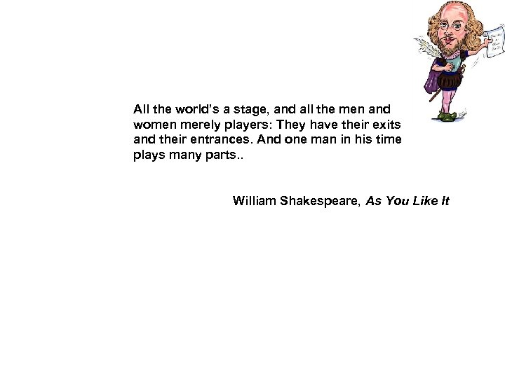 All the world's a stage, and all the men and women merely players: They