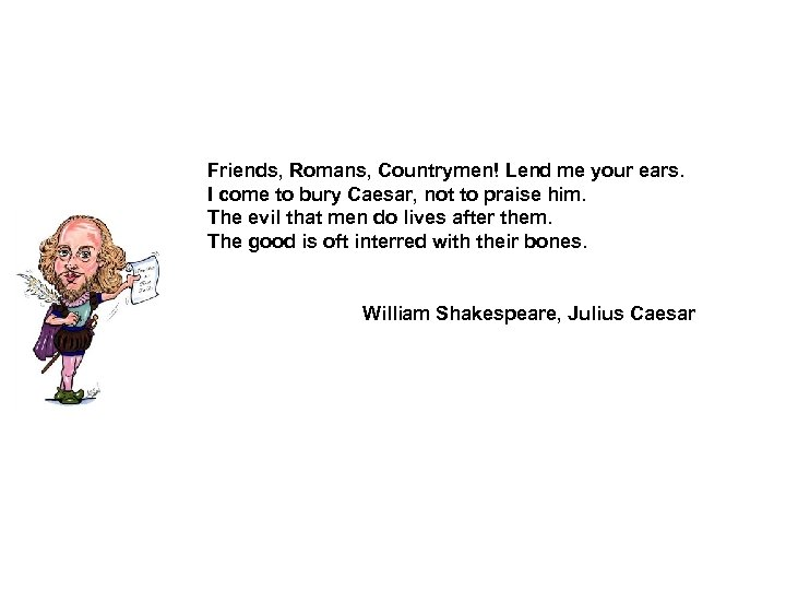 Friends, Romans, Countrymen! Lend me your ears. I come to bury Caesar, not to