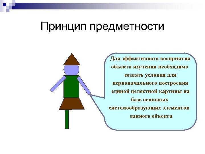 Принцип предметности Для эффективного восприятия объекта изучения необходимо создать условия для первоначального построения единой