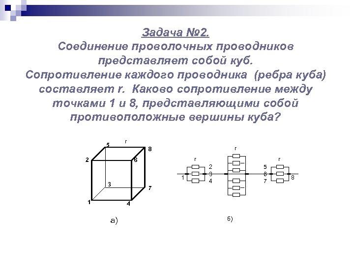 Задача № 2. Соединение проволочных проводников представляет собой куб. Сопротивление каждого проводника (ребра куба)