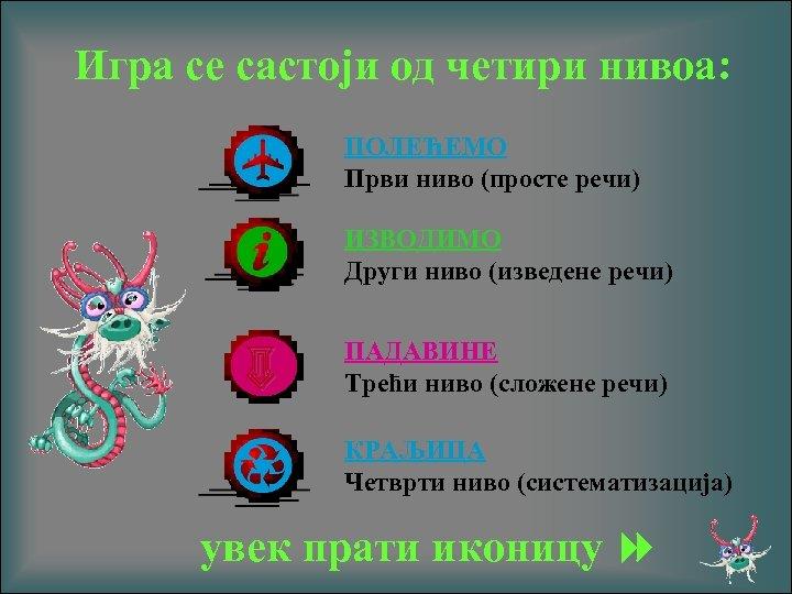 Игра се састоји од четири нивоа: ПОЛЕЋЕМО Први нивo (просте речи) ИЗВОДИМО Други ниво